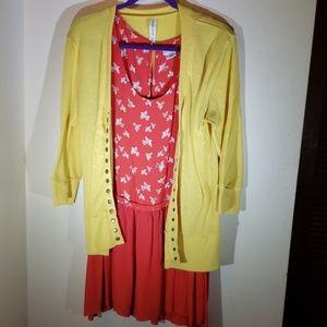 Urban Outfitters Orange Dress Dropwaist Dress